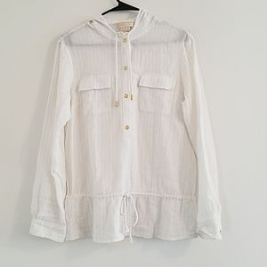 White & Gold Long Sleeve Button Down